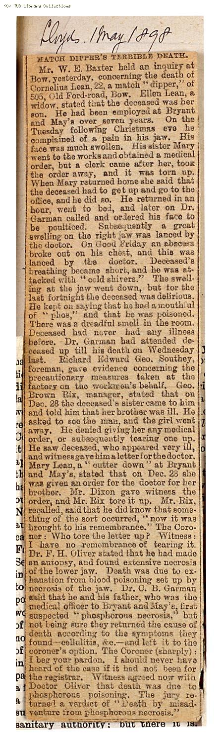 Match dippers terrible death, 'Lloyds' 1 May 1898