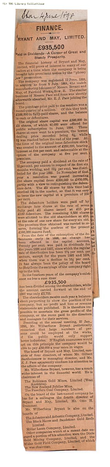 Bryant and May Limited,  £935,000,  Paid in dividends - A career of great and steady prosperity, 'The Star' 4 June 1898