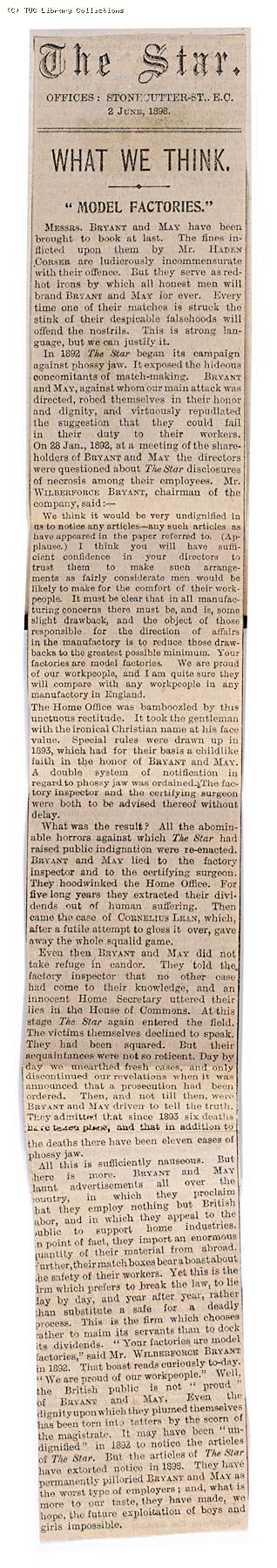 What we think - model factories, 'The Star' 2 June 1898