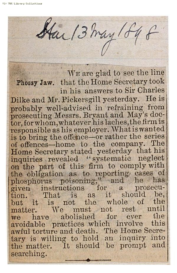 Phossy jaw, 'The Star' 13 May 1898