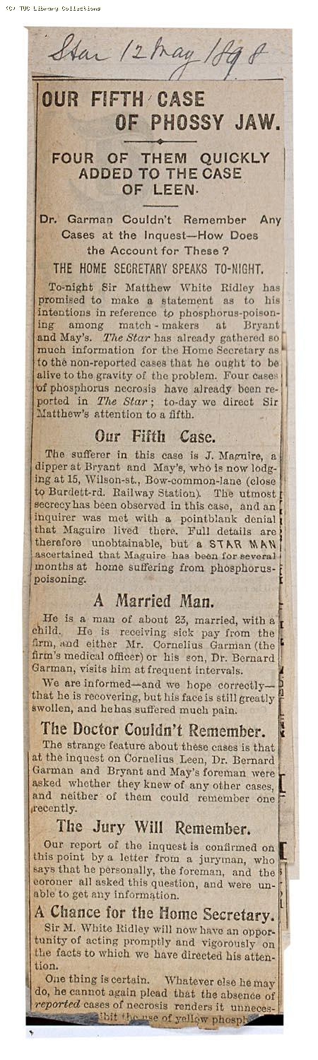 Our fifth case of phossy jaw, 'The Star' 12 May 1898