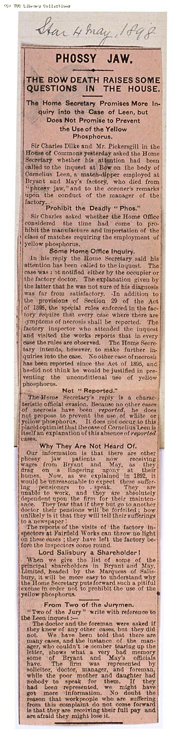 Phossy jaw - the Bow death raises some questions in the House, 'The Star' 4 May 1898
