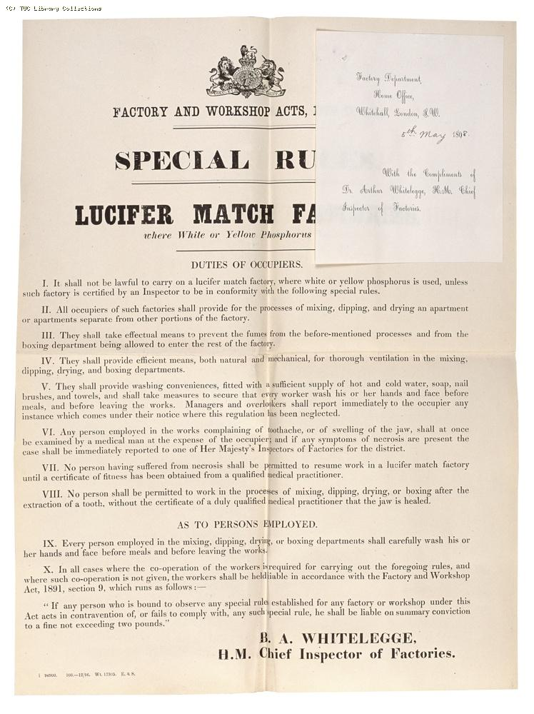 Factory and Workshop Acts notice re: lucifer match factories, 1896