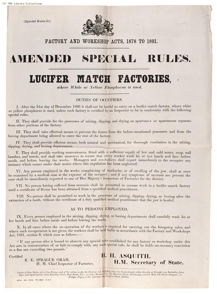 Factory and Workshop Acts notice re: lucifer match factories, 1895