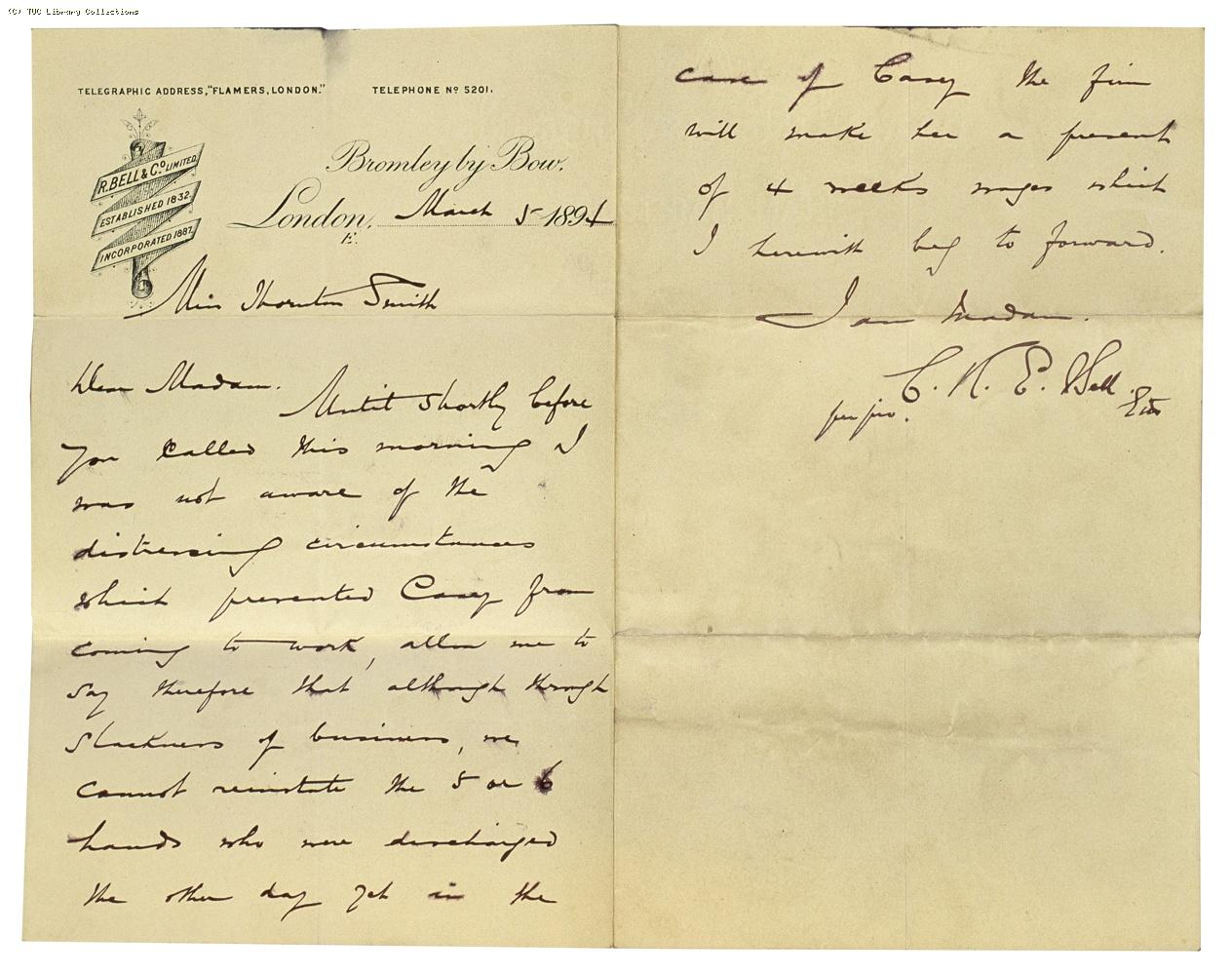 Letter from Charles Bell to Miss Thornton Smith re: dismissal case [Casey] 5 March 1894