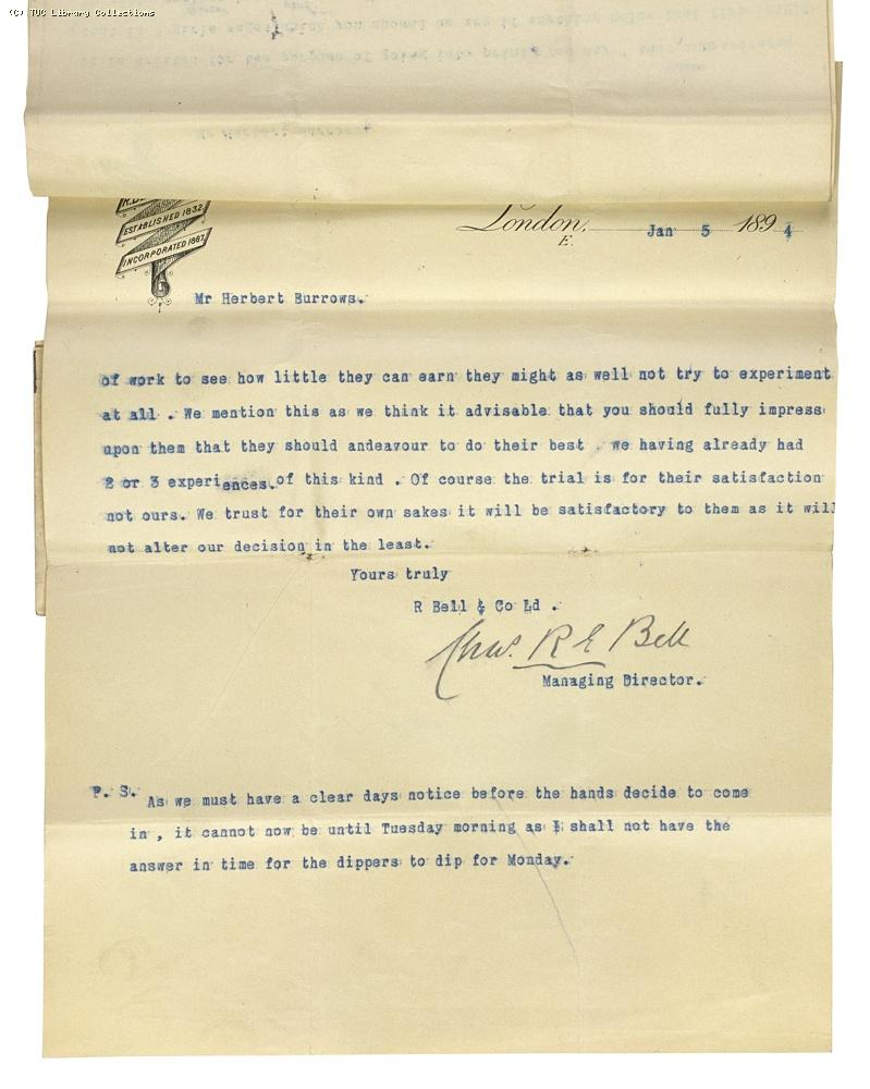 Letter from Charles Bell, Managing Director of Bell's to Herbert Burrows, re. wage rates,  5 January 1894, (page 4)