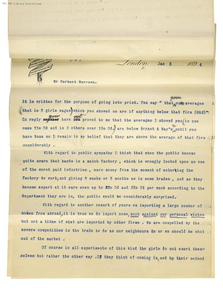 Letter from Charles Bell, Managing Director of Bell's to Herbert Burrows, re: wage rates,  5 January 1894, (page 3)