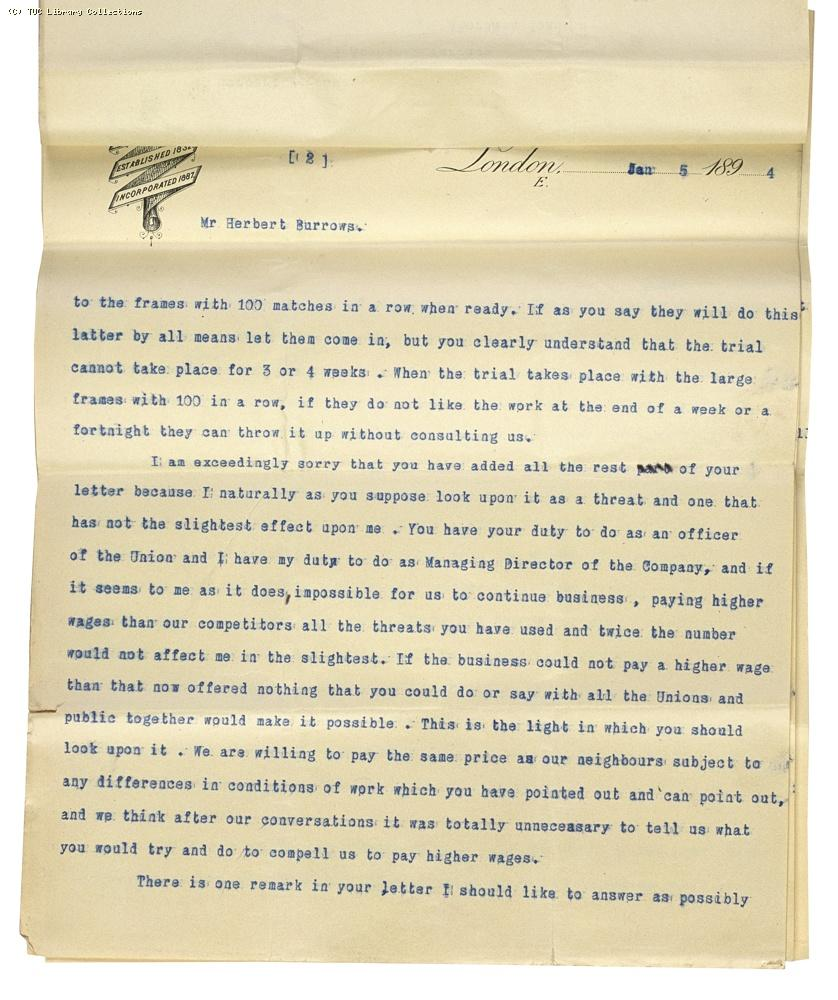 Letter from Charles Bell, Managing Director of Bell's to Herbert Burrows, re: wage rates,  5 January 1894, (page 2)
