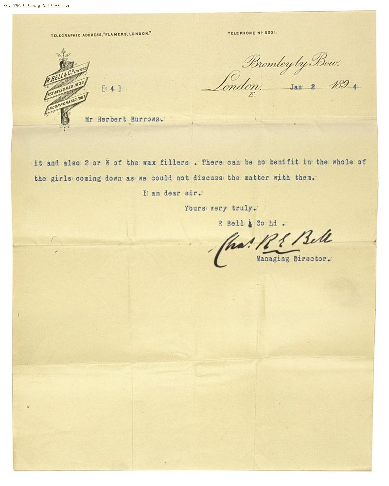 Letter from Charles Bell, Managing Director of Bell's, re: wage rates,  2 January 1894, (page 4)