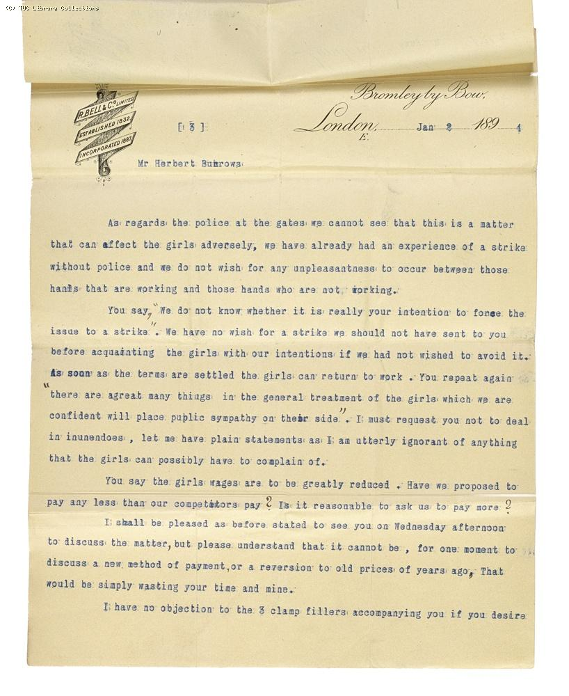 Letter from Charles Bell, Managing Director of Bell's, re: wage rates,  2 January 1894, (page 3)