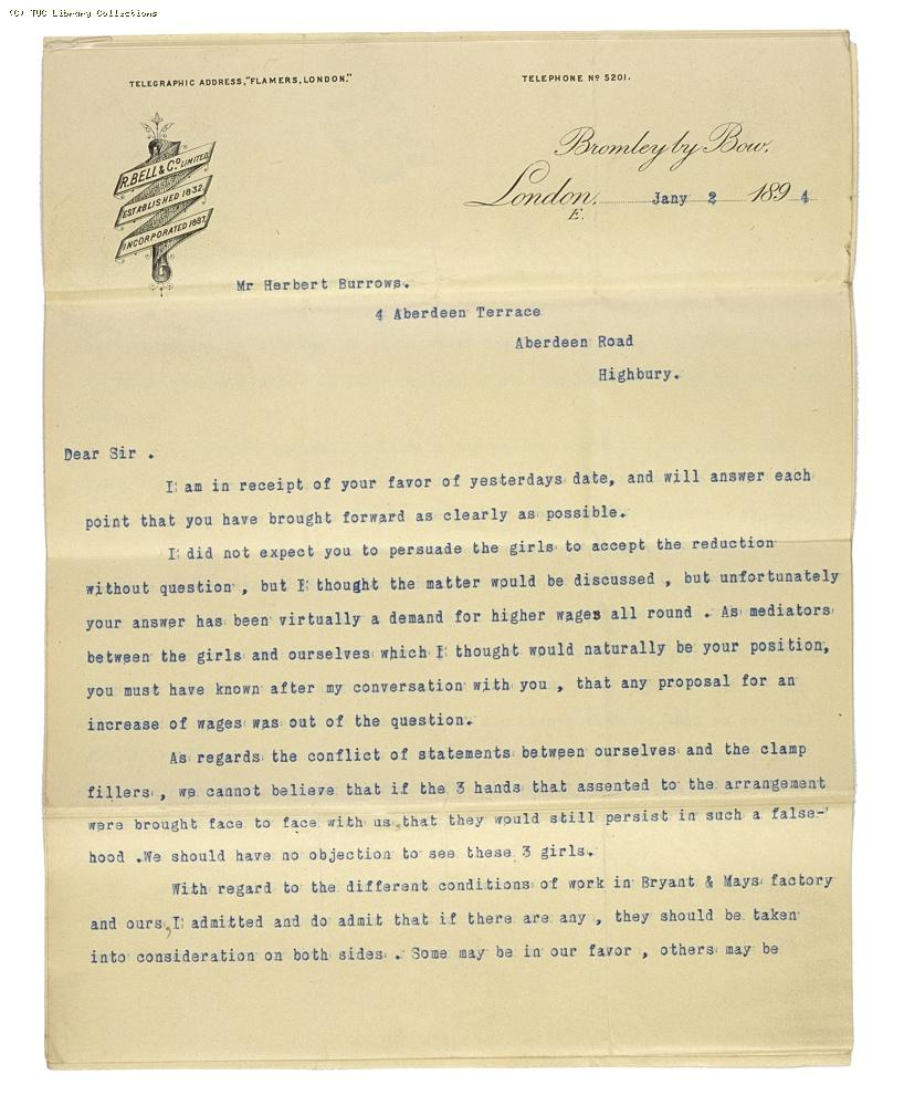 Letter from Charles Bell, Managing Director of Bell's, re: wage rates,  2 January 1894, (page 1)