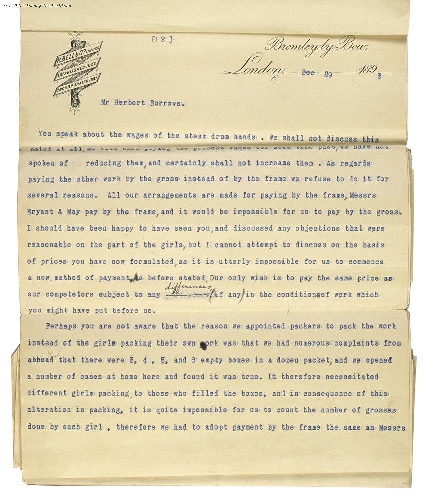 Letter from Charles Bell, Managing Director of Bell's, re: wage rates,  29 December 1893, (page 2)