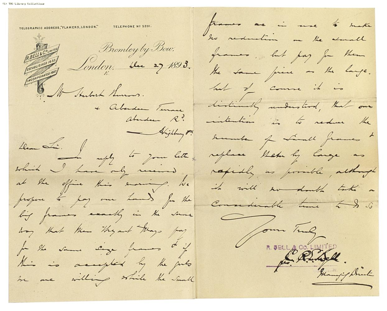 Letter from Charles Bell, Managing Director of Bell's, to Herbert Burrows, re: wage rates, 27 December 1893