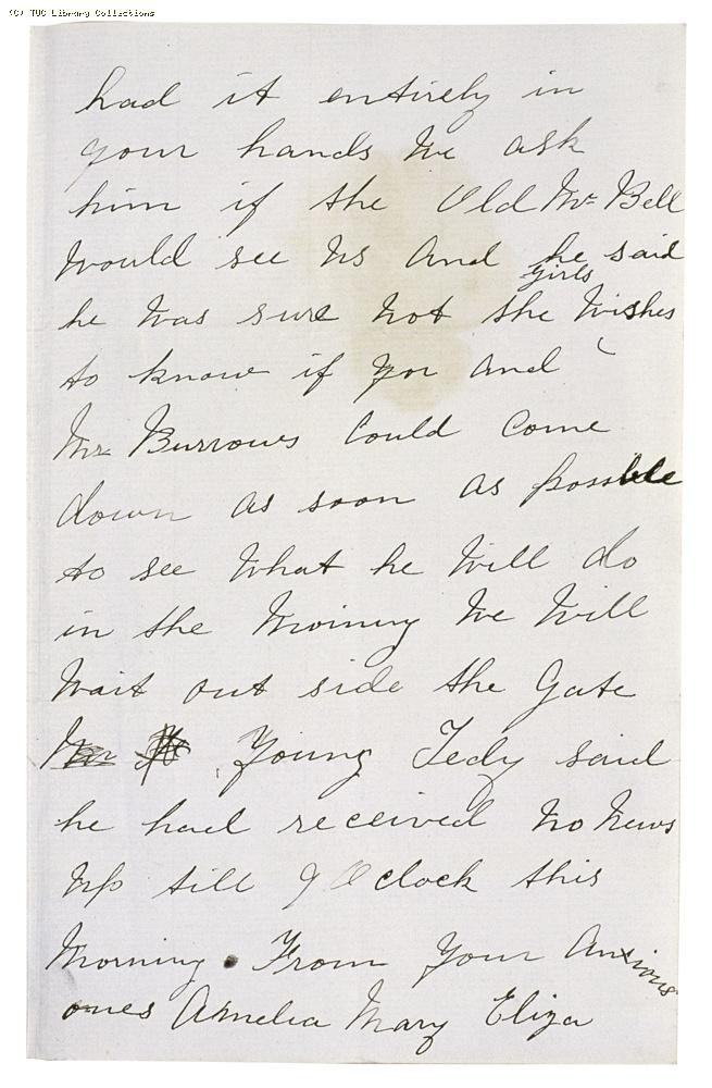 Letter from Amelia, Mary and Eliza [Bell's employees] to Miss Thornton Smith [Matchmakers' Union], undated, (page 2)