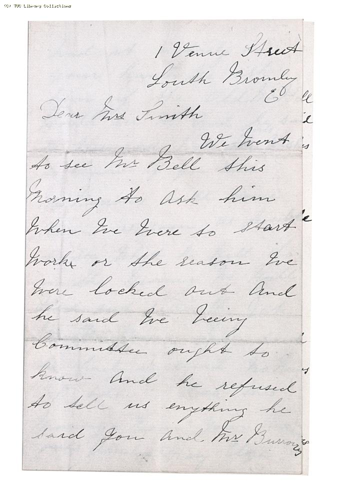 Letter from Amelia, Mary and Eliza [Bell's employees] to Miss Thornton Smith [Matchmakers' Union], undated, (page 1)