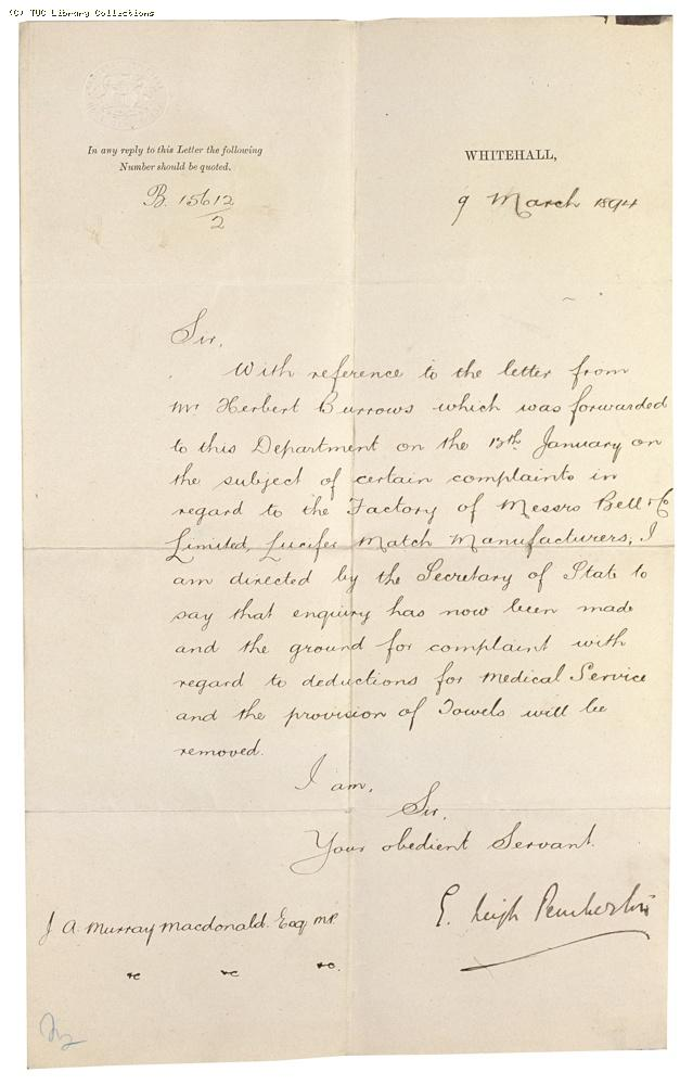 Letter from E. Leigh Pemberton, Home Office to J. A. Murray Macdonald MP re: Bell's match factory at Bromley, 9 March 1894