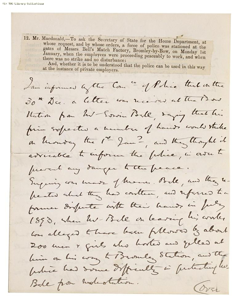 Written reply from the Secretary of State, Home Department to parliamentary question put by J. A. Murray Macdonald MP re: Bell's match factory at Bromley, 1894, page 1