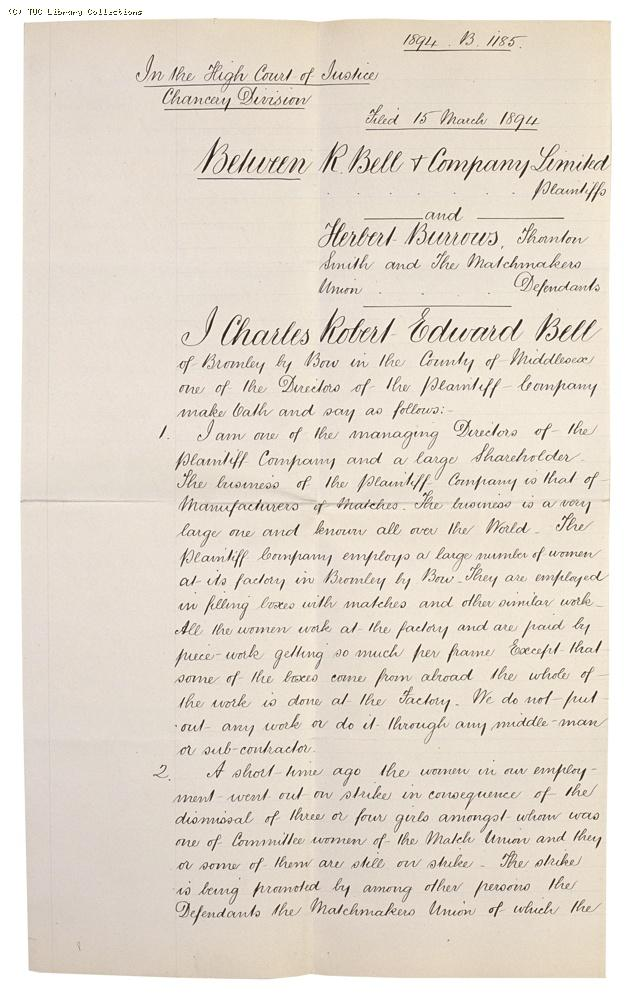 Affidavit of Charles Bell in R. Bell & Co. v. Burrows and Others, (page 2)