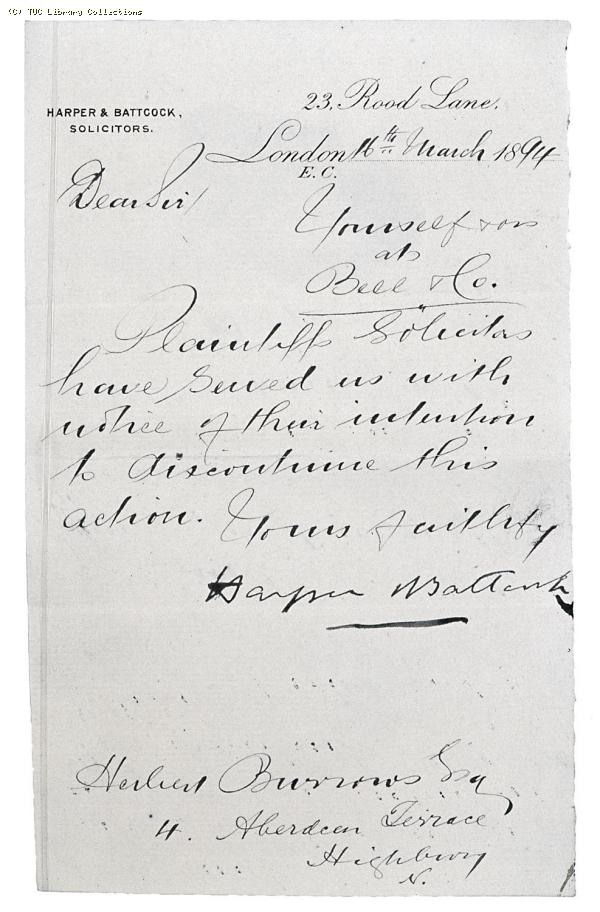 Letter from Harper and Battock Solicitors to Herbert Burrows, 16 March 1894