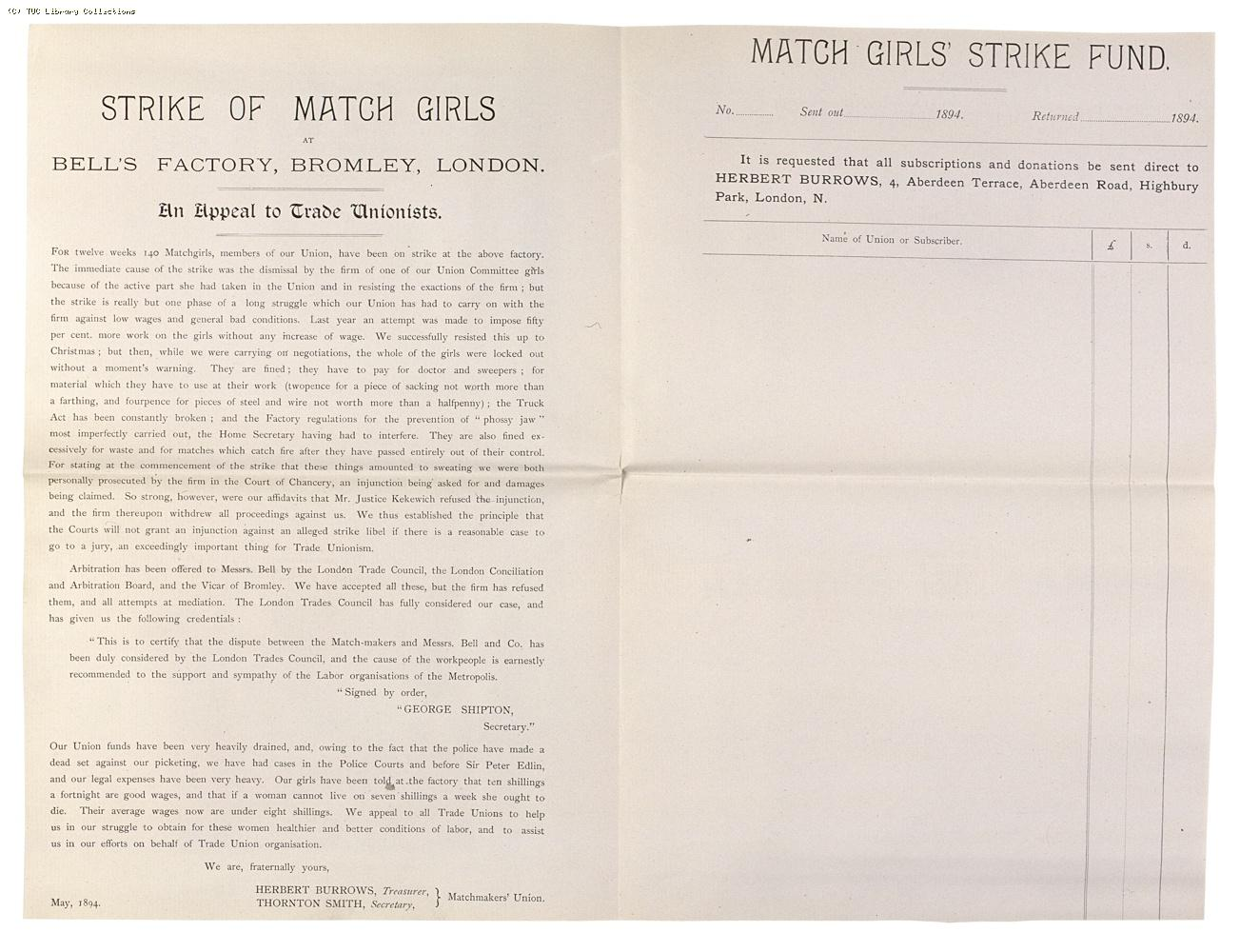 Matchmakers' Union strike fund appeal for Bell's factory, Bromley by Bow, 1894