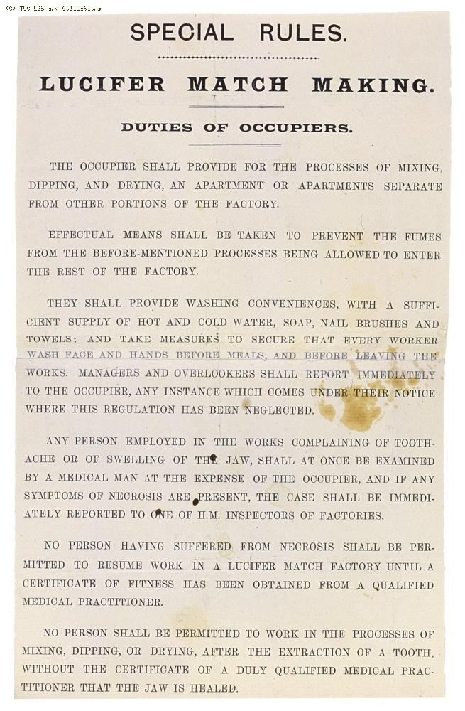 Factory and Workshop Act notice, lucifer match factories, 1893