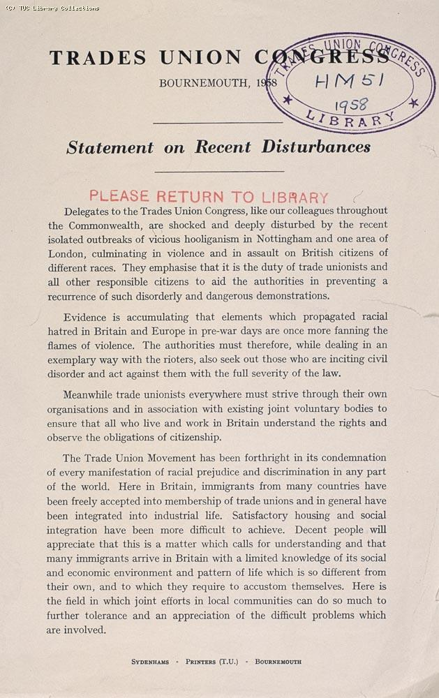 Statement on recent disturbances - TUC, 1958