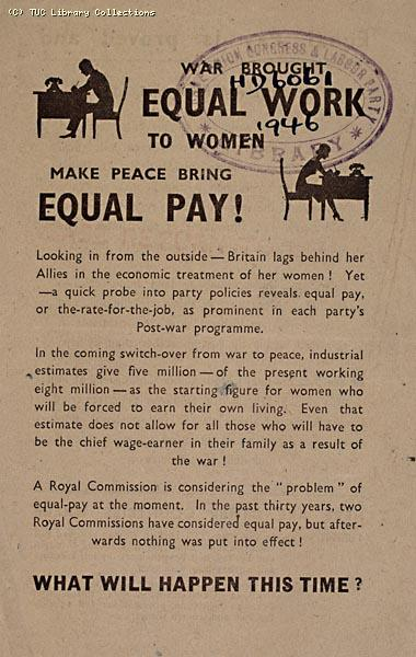 Equal Pay Campaign Committee leaflet, 1946