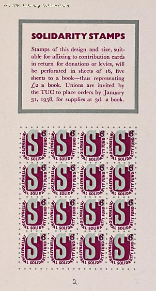 International Solidarity Fund Stamps, 1958