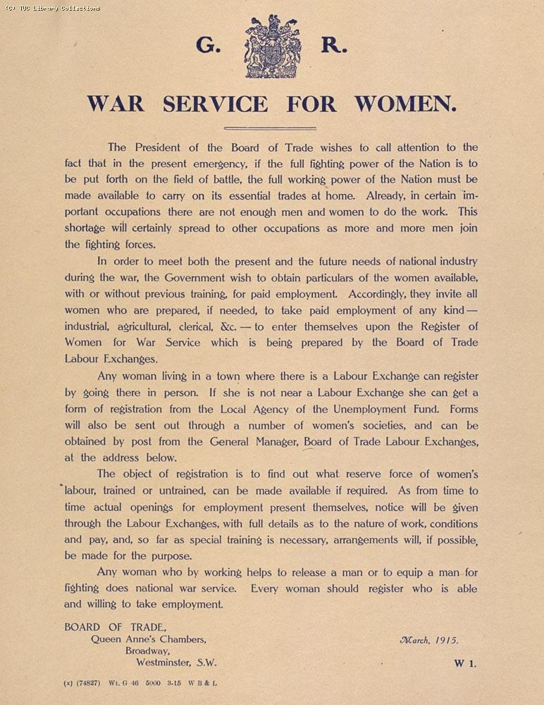 War Service for Women, 1915