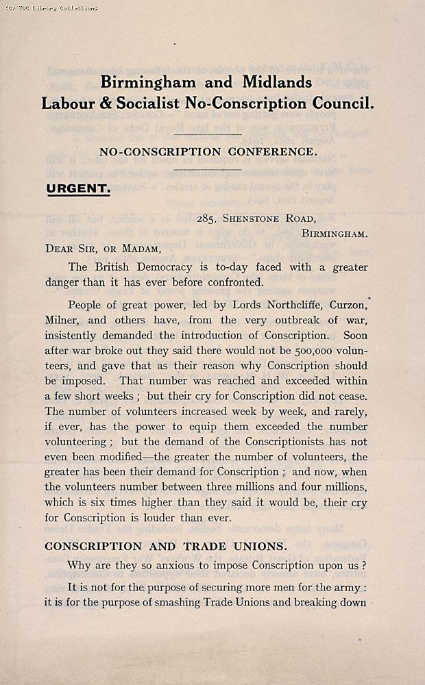 Birmingham and Midlands Labour and Socialist No-Conscription Council. No-Conscription Conference