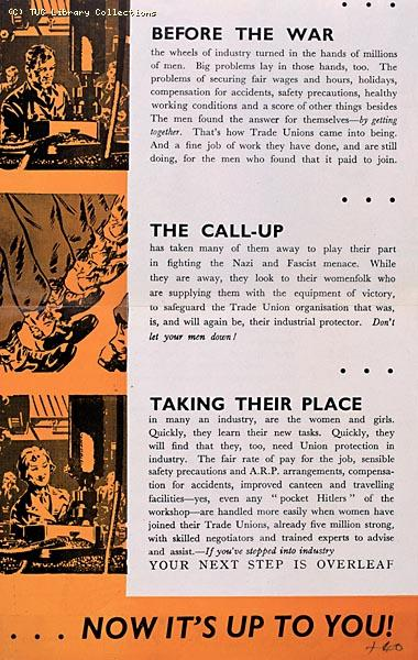 TUC recruitment leaflet for women war workers, 1944 (page 2)