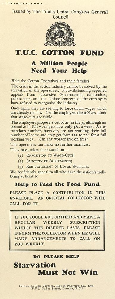 TUC Cotton Fund - leaflet, 1932
