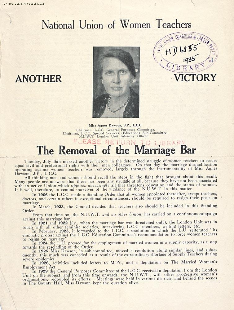 National Union of Women Teachers leaflet against the marriage bar, 1935