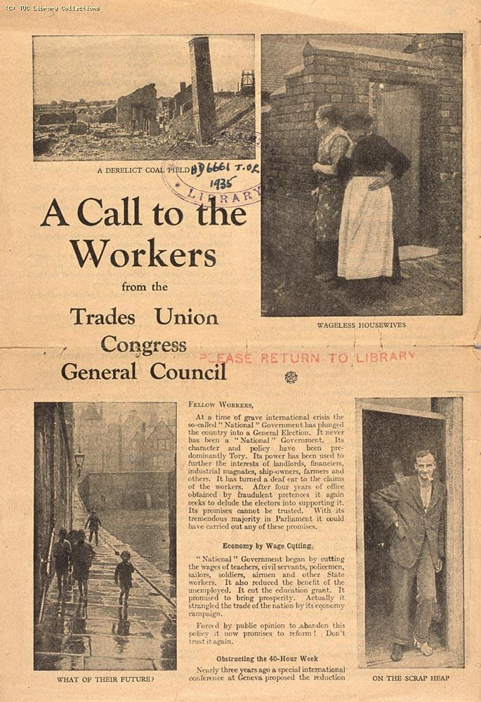 TUC election leaflet opposing the National Government, 1935