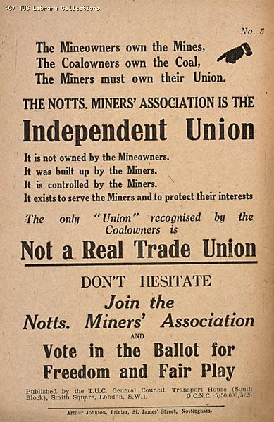 The Nottinghamshire Miners' Association, TUC leaflet, 1928