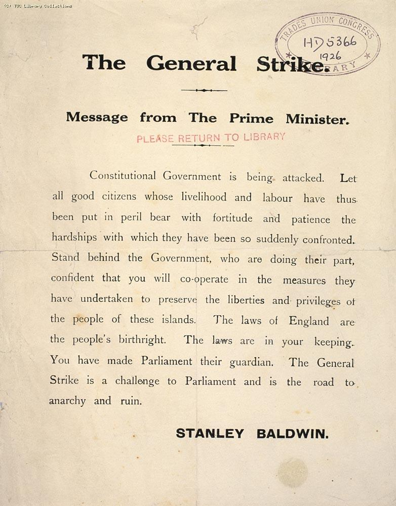 The General Strike, 1926 - Message from the Prime Minister