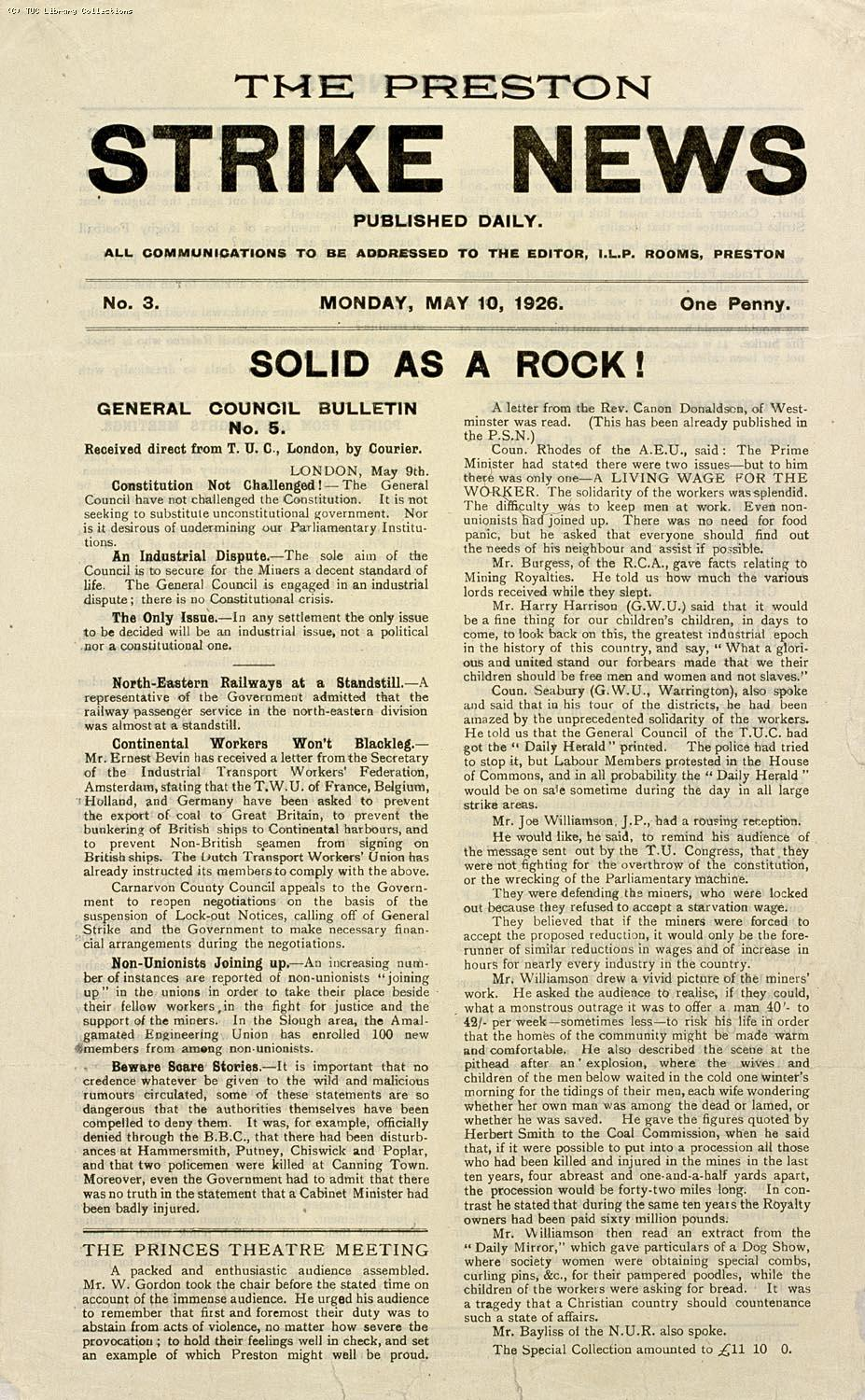 'Preston Strike News', 10 May, 1926