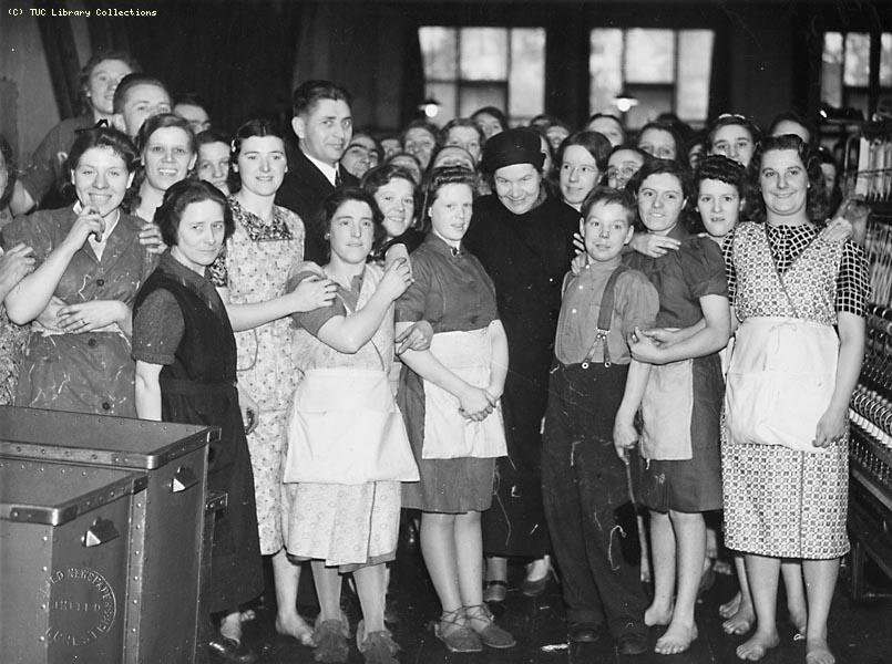 Soviet delegates from Anglo-Russian Trade Union Committee visit cotton mill, 1942