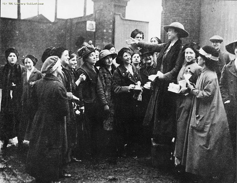 Strike meeting outside Morton's factory, Millwall, 1914