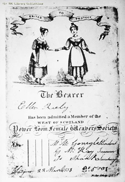 Membership card for the West of Scotland Power Loom Female Weavers Society, 1833