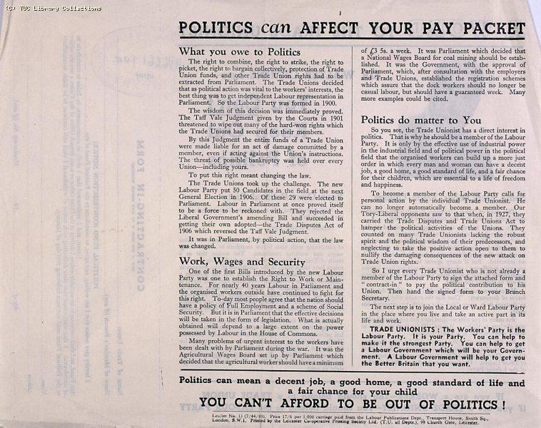 Labour Party membership - TUC leaflet, 1944 (page 2)
