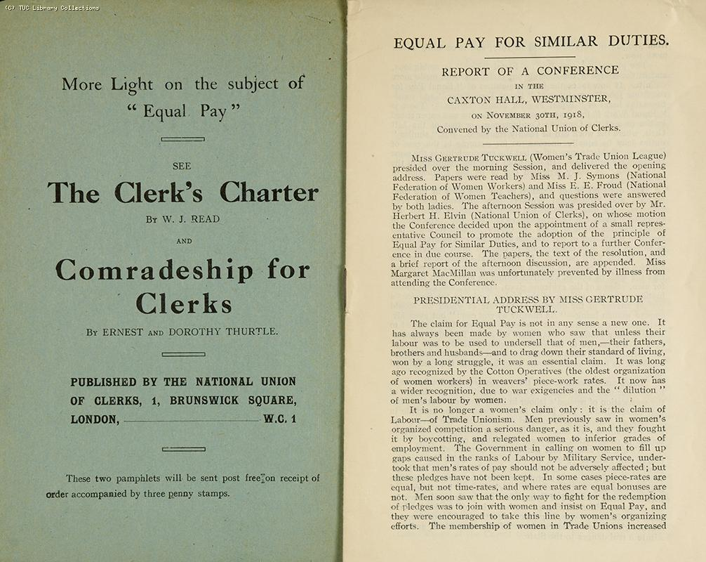 Equal Pay for Similar Duties Conference 1918