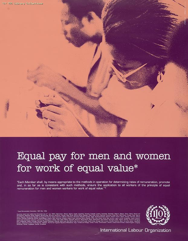 Equal pay for men and women for work of equal value - ILO poster, 1997