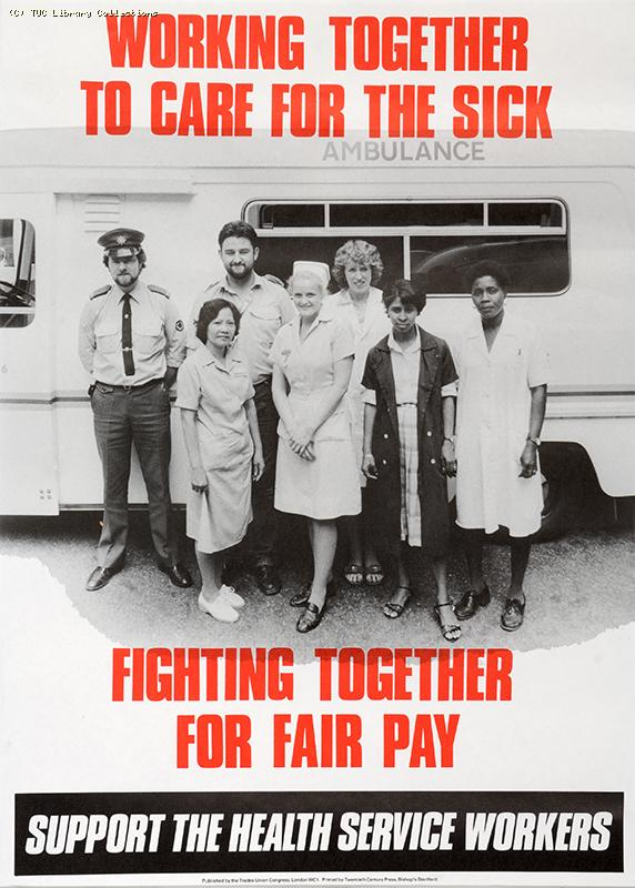 Support the health service workers - TUC poster, 1980s