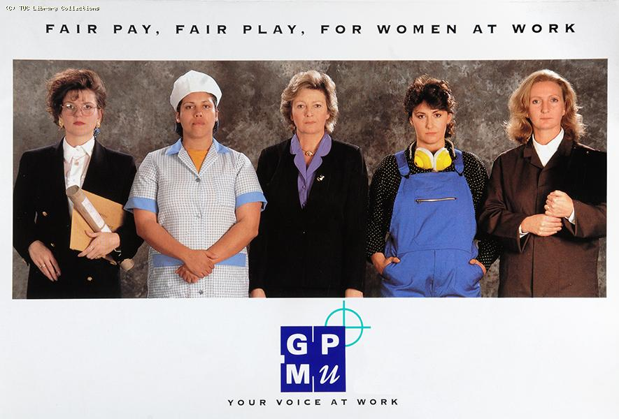 Fair pay, fair play, for women at work - poster c 1998