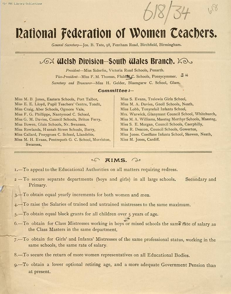 National Federation of Women Teachers, South Wales - leaflet, c 1906