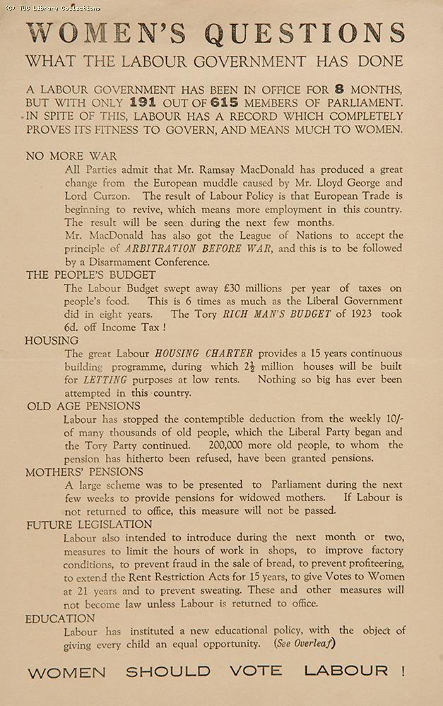 Women's questions - General Election 1924