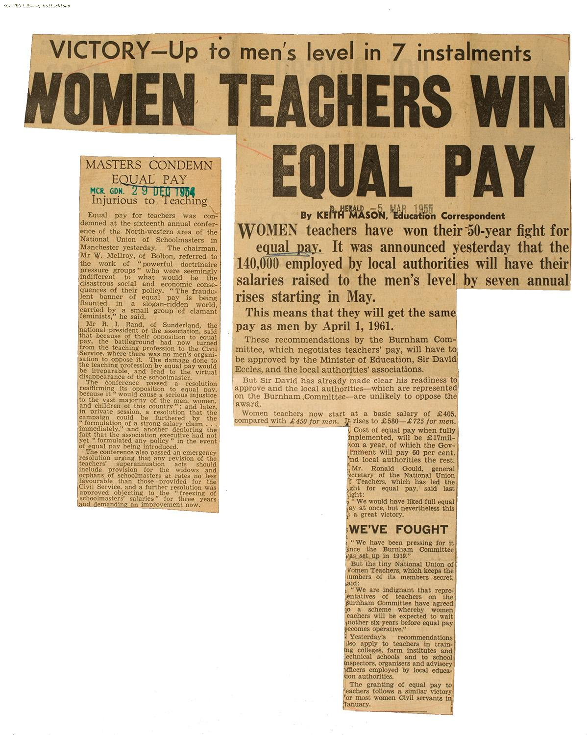 Equal pay in teaching, 1955