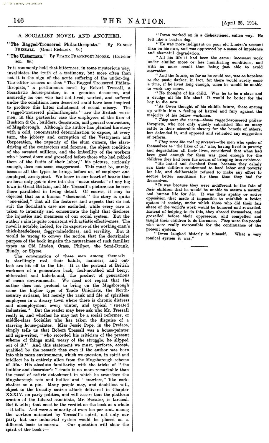 Review - The Ragged Trousered Philanthropists, 25 April 1914, 'The Nation'