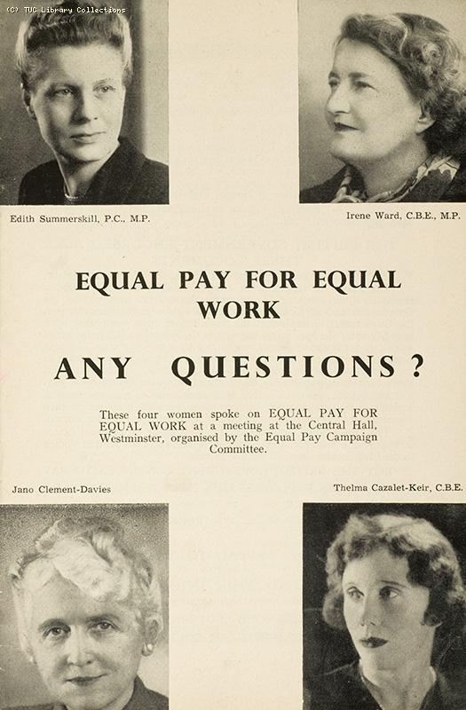 Equal pay for equal work - any questions? 1954